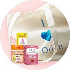 Orion keräilypalkinto Orionin tuotteita ja puuvillakassi